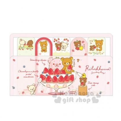 〔小禮堂〕拉拉熊 日製自黏便利貼《5入.粉.草莓聖代.坐姿》草莓派對系列