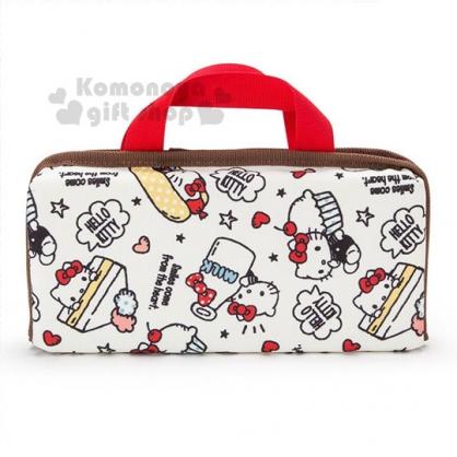 〔小禮堂〕Hello Kitty 攜帶式折疊野餐坐墊《紅白.甜點.三明治.滿版》25x25cm.可提