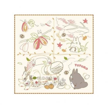 〔小禮堂〕宮崎駿 Totoro 龍貓 小方巾《米黃.秋天.龍貓.落葉》25x25cm