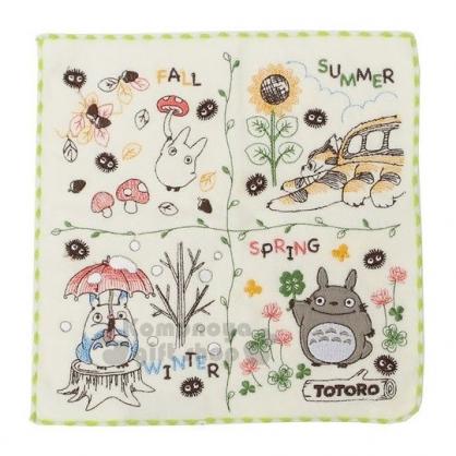 〔小禮堂〕宮崎駿 Totoro 龍貓 小方巾《米黃.四季.龍貓.綠邊》25x25cm