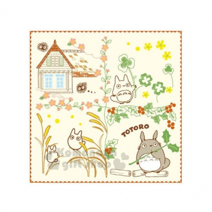 〔小禮堂〕宮崎駿 Totoro 龍貓 小方巾《米黃.春天.龍貓.紅邊》25x25cm
