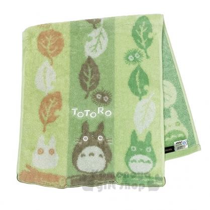 〔小禮堂〕宮崎駿 Totoro 龍貓 純棉長毛巾《綠.三色.樹葉》80x34cm