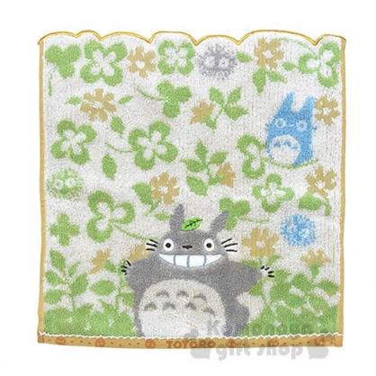 〔小禮堂〕宮崎駿 Totoro龍貓 棉質方型毛巾《綠.米.微笑.幸運草》35x35cm