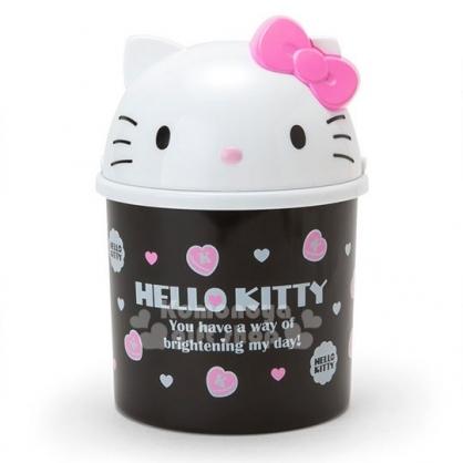 〔小禮堂〕Hello Kitty 造型掀蓋式垃圾桶《M.白黑.大臉.愛心》