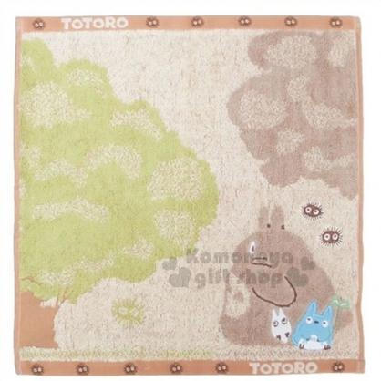 〔小禮堂〕宮崎駿 Totoro龍貓 棉質方型毛巾《咖.看樹.站姿.朋友》100%純棉.34x36cm