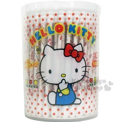 〔小禮堂〕Hello Kitty 螺旋棉花棒《圓罐.點點.側坐》100支入