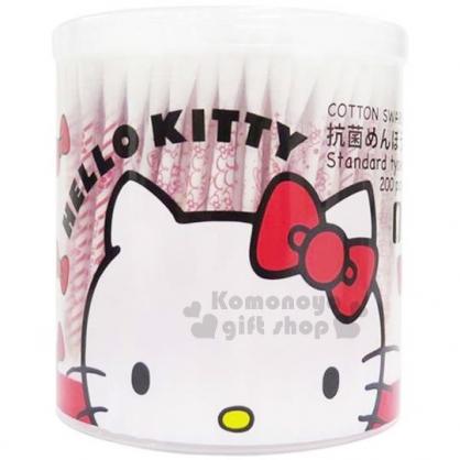 〔小禮堂〕Hello Kitty 日製抗菌棉花棒《紅.圓罐.大臉.蝴蝶結》200支入
