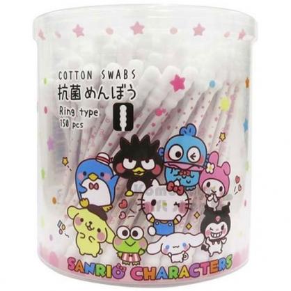 〔小禮堂〕Sanrio 大集合 日製抗菌棉花棒《粉.圓罐.多角色.星星》150支入.螺旋設計