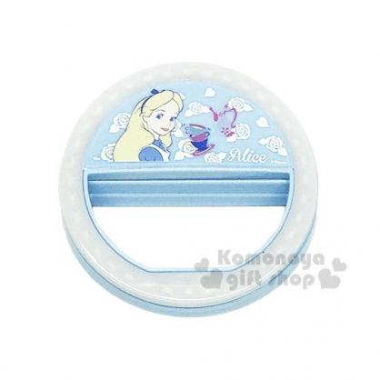 〔小禮堂〕迪士尼 愛麗絲 LED自拍補光燈《藍.花.拿花》可夾於手機.平板