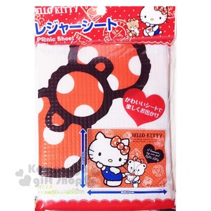 〔小禮堂〕Hello Kitty 野餐墊《S.紅.經典吊帶褲》60x80cm.單人用尺寸.銅板小物