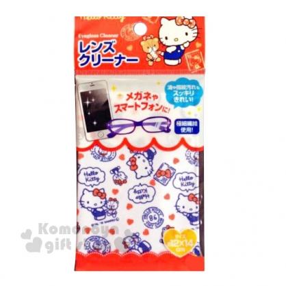 〔小禮堂〕Hello Kitty 眼鏡布《紅白.滿版》擦拭布.拭鏡布.銅板小物