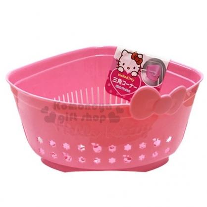 〔小禮堂〕Hello Kitty 三角造型瀝水籃《粉.蝴蝶結》洗菜籃.置物籃.銅板小物