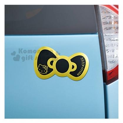 〔小禮堂〕Hello Kitty 日製造型裝飾磁鐵貼《黑.金線.蝴蝶結》吸鐵