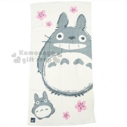 〔小禮堂〕宮崎駿 Totoro 龍貓 紗布大浴巾《灰米.站姿.櫻花》60x120cm