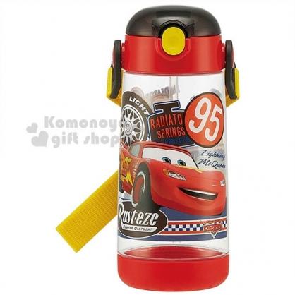 〔小禮堂〕迪士尼 閃電麥坤 按壓式吸管水壺《紅.透明.多角色》480ml.附可拆背繩