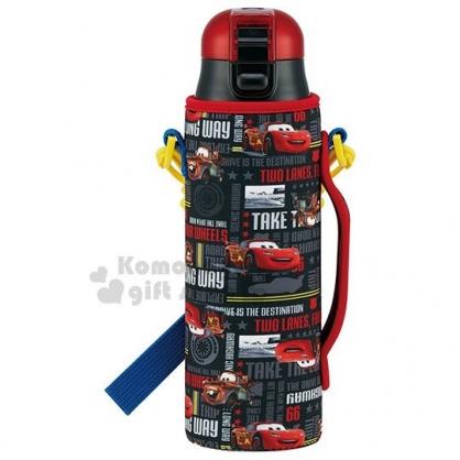 〔小禮堂〕迪士尼 閃電麥坤 直飲式不鏽鋼保溫瓶《紅黑.滿版.英文字》580ml.保冷專用
