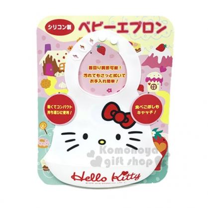 〔小禮堂〕Hello Kitty 防水矽膠圍兜《白.大臉.蝴蝶結》尺寸可調節