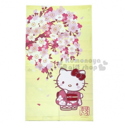 〔小禮堂〕Hello Kitty 日製長門簾《黃.櫻花.站姿.粉和服》85x150cm