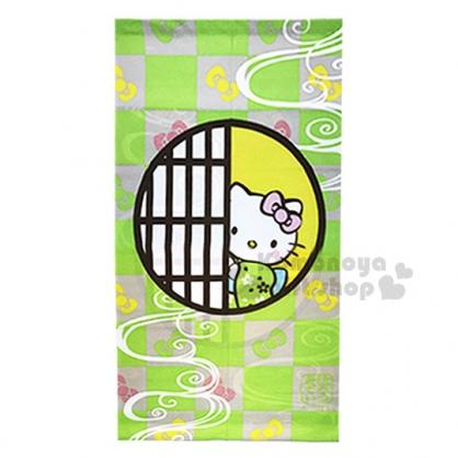 〔小禮堂〕Hello Kitty 日製長門簾《綠.格子.和服.開門》85x150cm