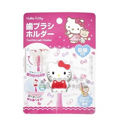 〔小禮堂〕Hello Kitty 造型吸盤式牙刷架《紅白.站立》銅板小物