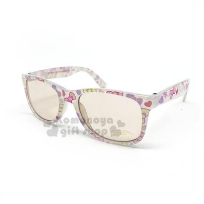 〔小禮堂〕Hello Kitty 兒童太陽眼鏡《白.方框.蝴蝶結.滿版》抗UV.遮陽.墨鏡