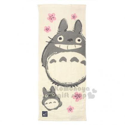 〔小禮堂〕宮崎駿 Totoro 龍貓 日製純棉長毛巾《米白.日式.櫻花》80x34cm
