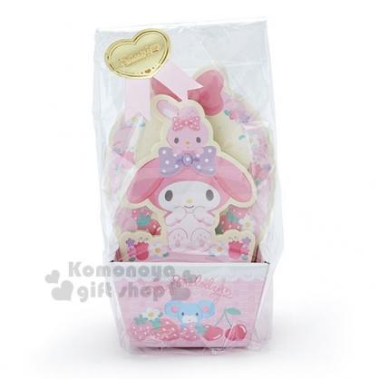 〔小禮堂〕美樂蒂 日製造型便條紙附紙盒《粉黃.坐姿.草莓》