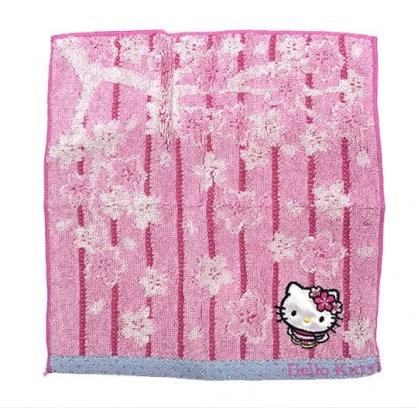 〔小禮堂〕Hello Kitty 純棉小方巾《粉.條文.櫻花》20x20cm