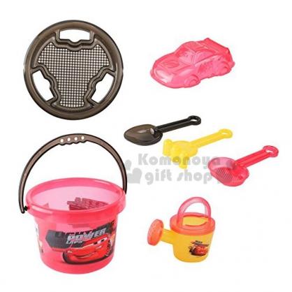 〔小禮堂〕迪士尼 CARS 閃電麥坤 挖沙玩具組《紅.黑提把》適合3歲以上孩童.沙灘玩具