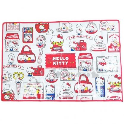 〔小禮堂〕Hello Kitty 野餐墊《S.紅.滿版.袋子》60x90.單人用