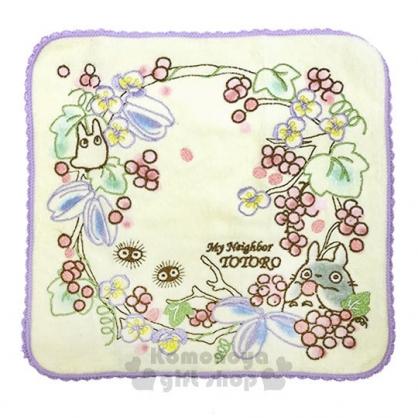 〔小禮堂〕宮崎駿 Totoro龍貓 棉質圓角小方巾《黃.果子.紫邊》25x25cm.手帕