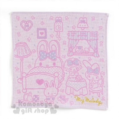 〔小禮堂〕美樂蒂 純棉小方巾《粉.房間.花朵.點點》25x25cm.手帕