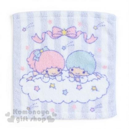 〔小禮堂〕雙子星 純棉方型毛巾《淺紫.條紋.星星.趴雲朵》34x36cm.無撚系