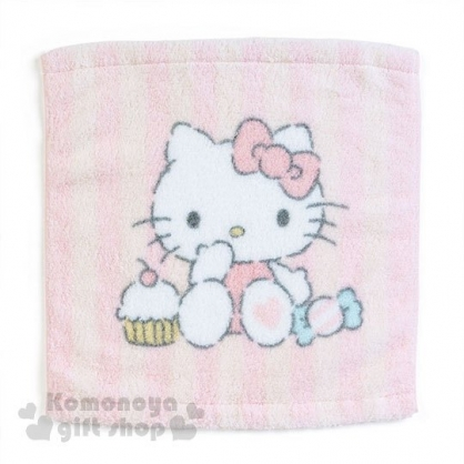 〔小禮堂〕Hello Kitty 純棉方型毛巾《粉條紋.糖果.蛋糕.坐姿》34x36cm.無撚系