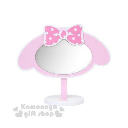 〔小禮堂〕美樂蒂 造型桌上立鏡《粉白.大臉》化妝鏡.可調節角度