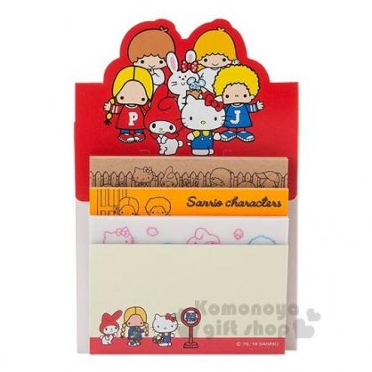 〔小禮堂〕Sanrio大集合 日製自黏便利貼《紅.站姿.招手》便條紙.4種圖案.80張