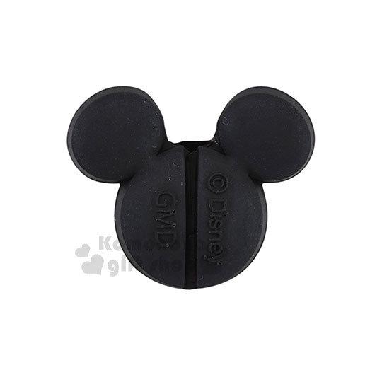 〔小禮堂〕迪士尼 米奇 造型傳輸線保護套《黑.臉型》USB線套