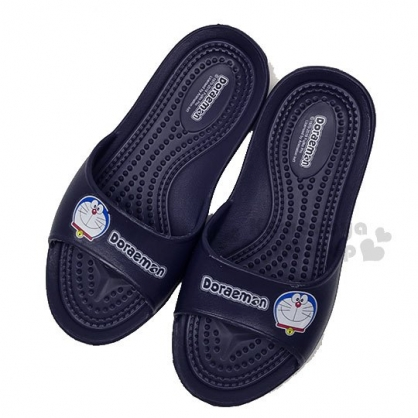 〔小禮堂〕哆啦A夢 塑膠室內拖鞋《深藍.大臉》輕量防滑.乾濕兩用
