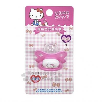 〔小禮堂〕台灣 佳美 Hello Kitty 安撫拇指型奶嘴《粉.初生型》附保護蓋