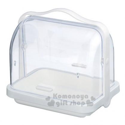 〔小禮堂〕INOMATA 日製透明掀蓋手提收納盒《白.綠盒裝》廚房收納