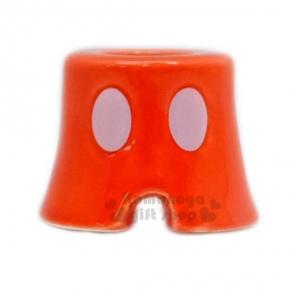 〔小禮堂〕迪士尼 米奇  造型陶瓷牙刷架《S.紅.褲子》精緻盒裝.筆架
