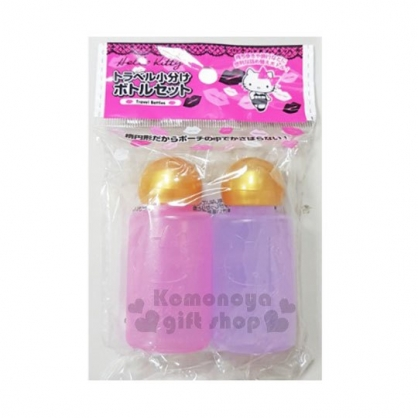 〔小禮堂〕Hello Kitty 乳液罐組《2入.粉紫.金蓋》20ml.空瓶.銅板小物