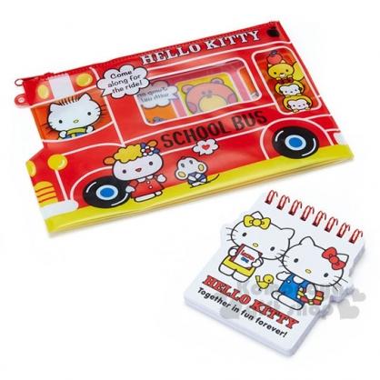〔小禮堂〕Hello Kitty 防水扁平收納袋附便條本《紅.校車》化妝包.筆袋