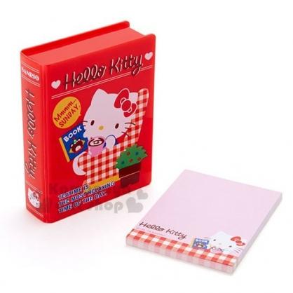 〔小禮堂〕Hello Kitty 書本造型收納盒附便條紙《紅.格紋沙發》內含40張