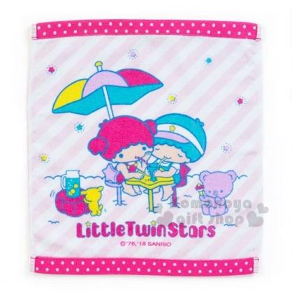 〔小禮堂〕雙子星 棉質方形毛巾《粉.條紋.喝飲料》34x36cm.繽紛暑假系列