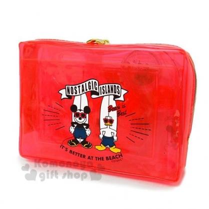 〔小禮堂〕迪士尼 米奇 旅行盥洗組附包《紅.唐老鴨.衝浪》5件組.空瓶.空罐