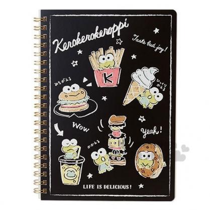 〔小禮堂〕大眼蛙 日製線圈筆記本《黑.食物》橫式內頁.美食大賞系列