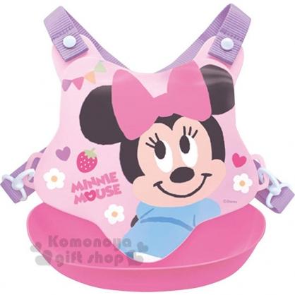 〔小禮堂〕迪士尼 米妮 日製防水矽膠圍兜附背帶《粉.花.微笑》口水圍兜.口水巾