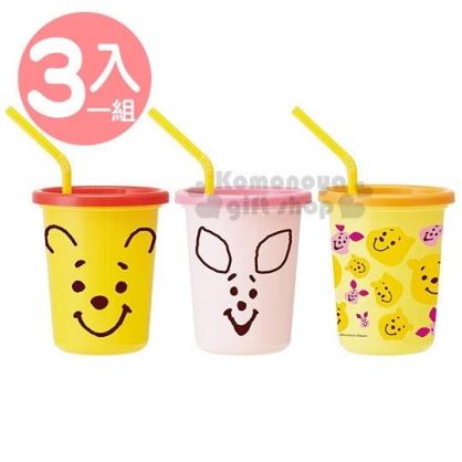 〔小禮堂〕迪士尼 小熊維尼 日製塑膠杯組《3入.黃粉橘.大臉》320ml.附蓋.吸管