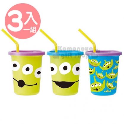 〔小禮堂〕迪士尼 三眼怪 日製塑膠杯組《3入.紫藍綠.大臉》320ml.附蓋.吸管